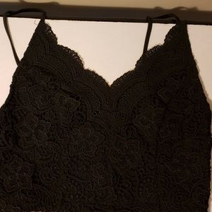 Paper Crane Black Lace Crop Tank